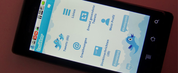 """Twitter-for-Android Twitter bringt eigenen Client aufs Android - """"Robots like to share too"""" Handys"""