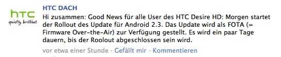 HTC-DACH-DHD HTC Desire HD: Offizielles Android 2.3 Gingerbread-Update kommt ab morgen Google Android HTC Corporation Smartphones Technologie