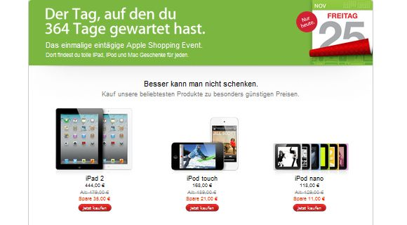 Black-Friday-Apple Black Friday Rabatte im Apple Store auf iPad 2, iPod, Macbook, iMac und viele andere Produkte Apple iPad Tablet