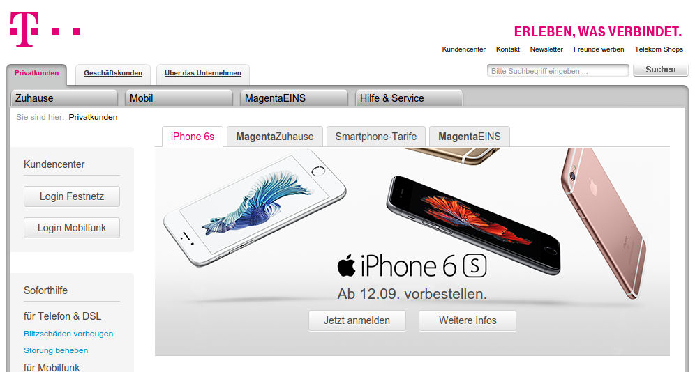 apple-iphone-6s-telekom Apple iPhone 6s ab 12.9. um 9:01 Uhr vorbestellen Apple iOS Gadgets Smartphones Technologie Web