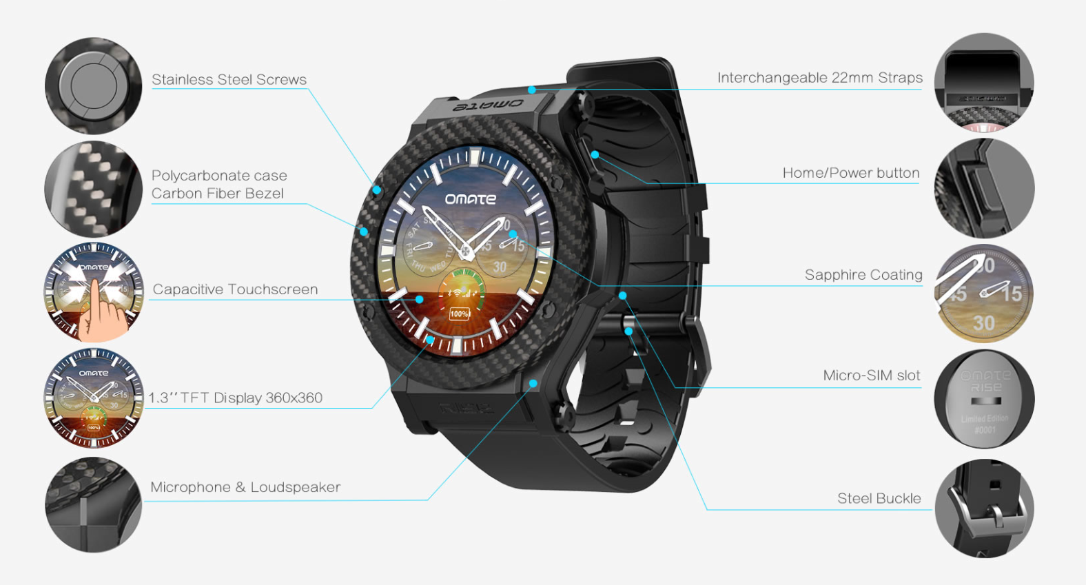 Rise Omate Rise: Smartwatch mit 3G und Android 5.1 Technologie