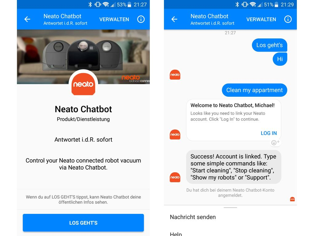 neato-botvac-connected-facebook-chatbot Neato Botvac D5 connected - ein Staubsaugerroboter im Test Apple iOS Featured Gadgets Google Android Hardware Reviews Smart Home Software Technology Testberichte YouTube Videos
