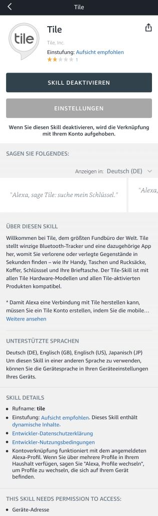 tile-alexa-skill Tile - die Bluetooth-Tracker jetzt auch als Pro Series in wasserdicht und mit doppelter Reichweite [Test] Accessoires Apple iOS Featured Gadgets Google Android Hardware Reviews Smartphones Technology Testberichte YouTube Videos