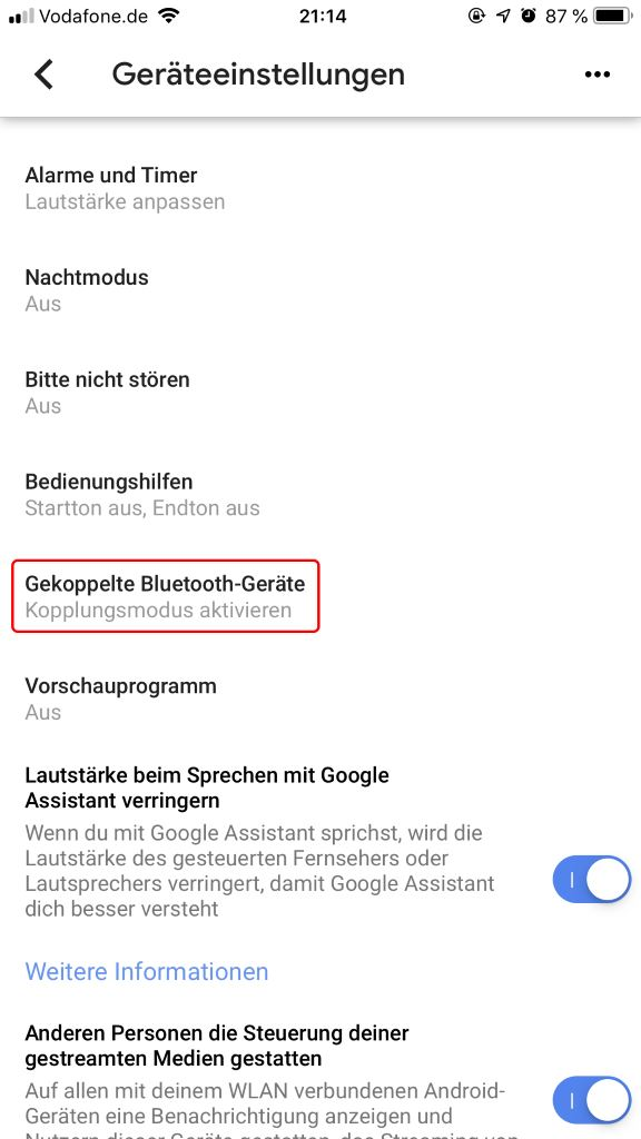 screenshot-google-home-bluetooth-aktivieren Vier smarte Lautsprecher mit Google Assistant im Vergleichstest Apple iOS Audio Gadgets Gefeatured Google Google Android Lautsprecher Smart Home Technologie Testberichte